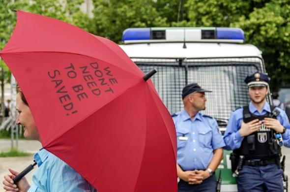 Sex workers protest in front of German parliament in June 2013. Source: BesD