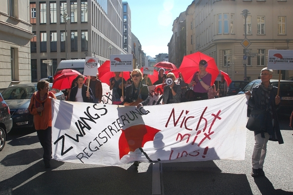 Zwangsregistrierung - Nicht mit uns! Sex worker protest in Berlin against the ProstSchG © 2015 Emy Fem